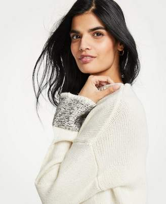 Ann Taylor Marled Sleeve Mock Neck Sweater