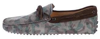 Tod's Suede Camouflage Driving Loafers