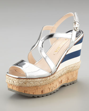 Prada Metallic and Mirco Wedge with Espadrille Detail