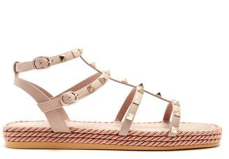 Valentino Torchon Rockstud Leather Sandals - Womens - Nude