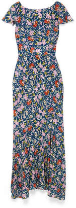Saloni Daphne Floral-print Silk Maxi Dress - Blue