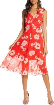 Vince Camuto Floral Print Tie Shoulder Chiffon Dress
