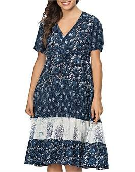 Clarity by threadz Multi Print Short Sleeve Tiered Dress