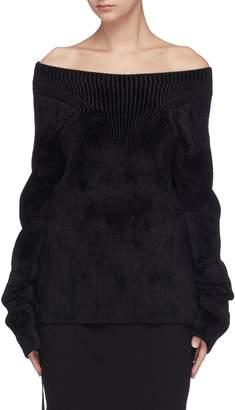 Haider Ackermann Velvet rib knit off-shoulder sweater