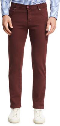 Kiton Twill Five-Pocket Pants, Red