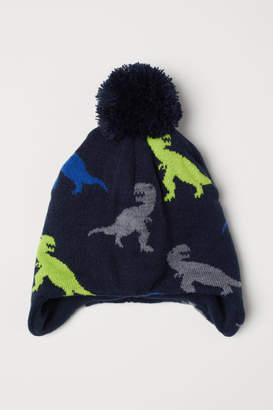 H&M Fleece-lined Hat with Earflaps - Blue