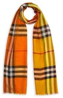 Burberry Oversized Giant Check Wool-Silk Scarf
