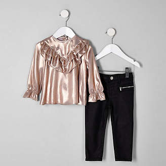 River Island Mini girls Pink freya top and jeans outfit