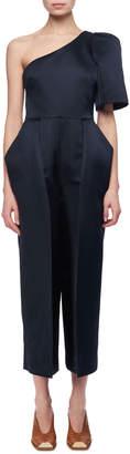 Stella McCartney Satin One-Shoulder Cropped Jumpsuit