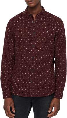 AllSaints Bethel Slim Fit Dot Flannel Shirt