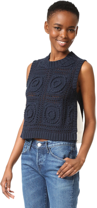 Sea Sleeveless Combo Knit Pullover $355 thestylecure.com