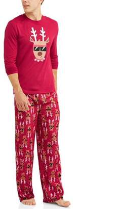 Toast & Jammies Holiday Family Sleep Reindeer Jersey Long Sleeve Top and Brushed Micro Jersey Pant, 2-piece Pajama Set (Men's)