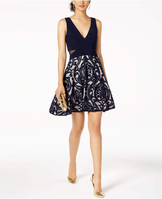 Xscape Evenings Illusion-Detail Fit & Flare Dress, Regular & Petite Sizes