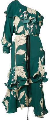 Johanna Ortiz Jade One-shoulder Ruffled Floral-print Silk Midi Dress
