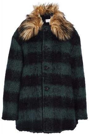 Faux Fur-Trimmed Striped Felt Coat