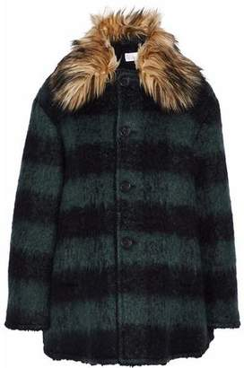 RED Valentino Faux Fur-Trimmed Striped Brushed-Felt Coat