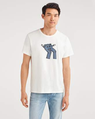 7 For All Mankind Commons Graphic Tee in Vintage White