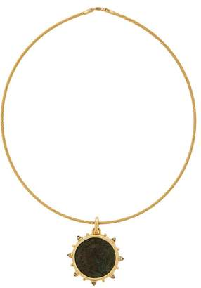 Dubini - Nero 18kt Gold Coin And Moonstone Choker - Womens - Bronze