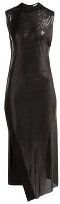 Paco Rabanne Slit Hem Metal Mesh And Jersey Midi Dress - Womens - Black