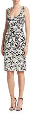 Roberto Cavalli Punto Sleeveless Animal Print Pencil Dress