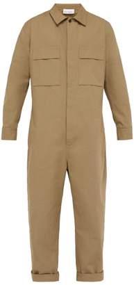 Raey Button Down Cotton Boilersuit - Mens - Khaki