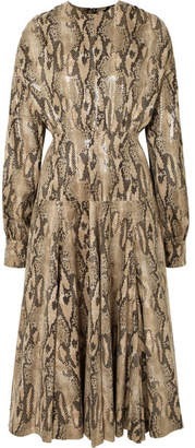 MSGM Snake-effect Faux Leather Midi Dress - Snake print
