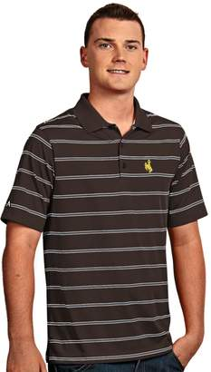 Antigua Men's Wyoming Cowboys Deluxe Striped Desert Dry Xtra-Lite Performance Polo