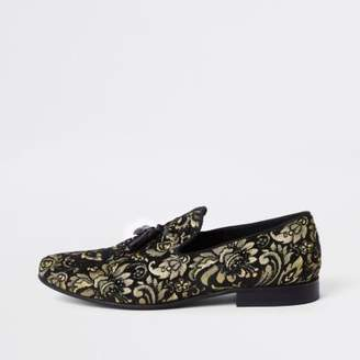 River Island Mens Black gold tone embroidered loafer