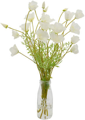 Creative Displays White Poppy Bunch In Glass Jar With Acrylic Water