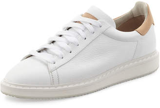 Brunello Cucinelli Men's Leather Sneakers, White