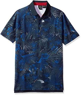 Armani Exchange A|X Men's Tropical Abstract Polo Shirt with a Solid Collar