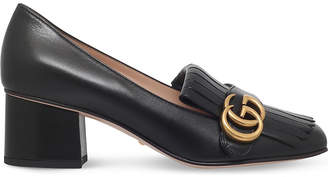 9fb348436e8 Gucci Marmont 55 leather mid-heel loafers