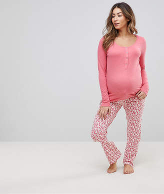 Mama Licious Mama.licious Mamalicious Nursing Rose Printed Pyjama Set