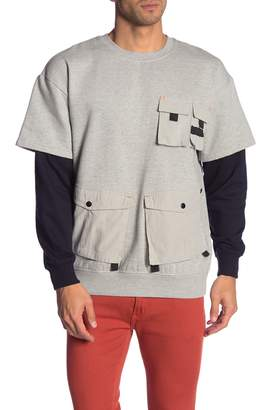 Soul Star Layered Patch Pocket Pullover Sweatshirt