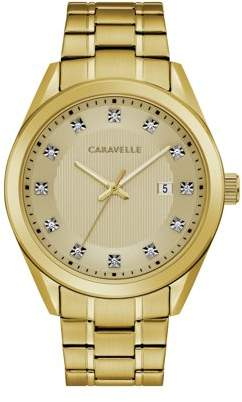Bulova CARAVELLE Designed by Caravelle Men's Gold-Tone Crystal Watch, Champagne Dial - 44B125