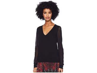 Fuzzi Sweater with Tulle Sleeves
