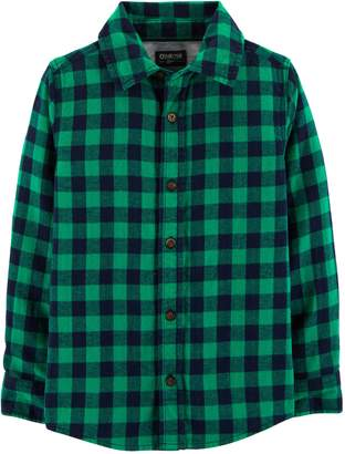 Osh Kosh Oshkosh Bgosh Boys 4-12 Flannel Plaid Button Down Shirt