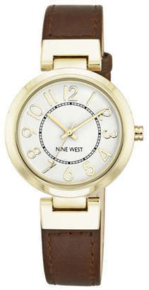 Nine West Goldtone Stainless Steel and Brown Watch