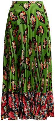 Andrew Gn Fan-print pleated silk skirt
