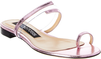 Sergio Rossi Karen Metallic Leather Flat Sandal