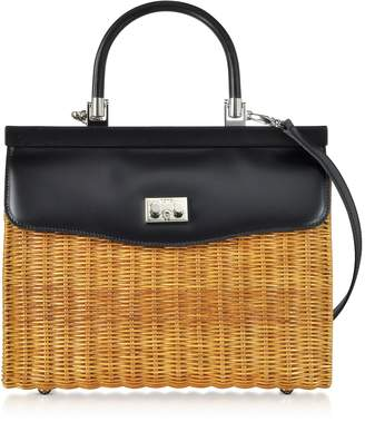 Rodo Large Leather and Wicker Midollina Satchel Bag