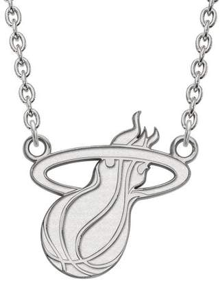 Logoart LogoArt NBA Miami Heat 10kt White Gold Large Pendant with Necklace