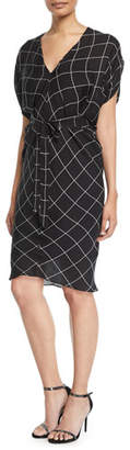 Milly Aimee Check Bias Sheath Dress