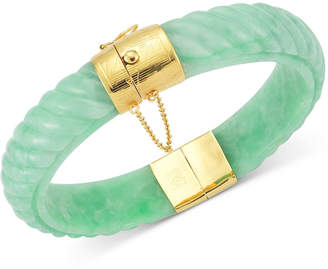 Macy's Dyed Jadeite Bangle Bracelet in 14k Gold over Sterling Silver in Green, Red or black