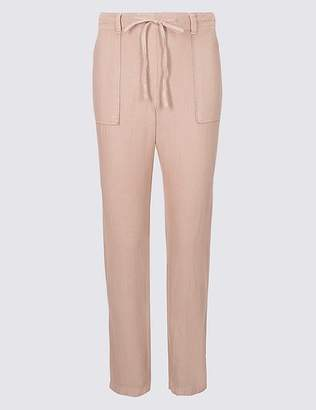 Marks and Spencer Linen Rich Patch Pocket Peg Trousers