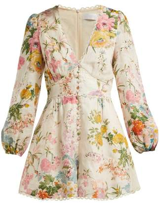 Zimmermann Heathers Floral Print Linen Playsuit - Womens - Pink Print
