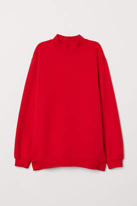 H&M Mock-turtleneck Sweatshirt - Red