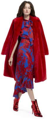 Alice + Olivia Montana Faux Fur Long Pea Coat