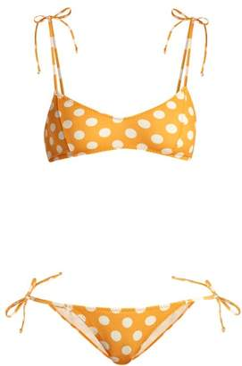 Lisa Marie Fernandez Nicole Polka Dot Bikini - Womens - Orange Multi