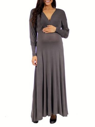 24/7 Comfort Apparel Women's Maternity Long Sleeve Empire Maxi Dress